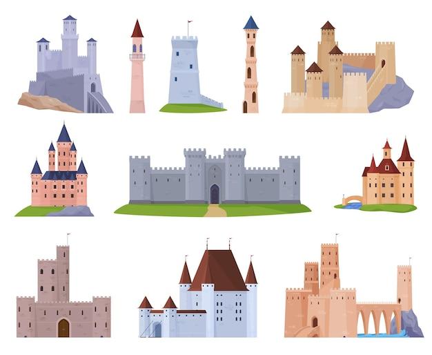 Ensemble de châteaux médiévaux forteresses et tours