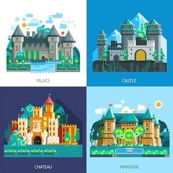 Ensemble de châteaux médiévaux