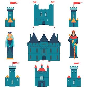 Ensemble de châteaux, roi et reine.