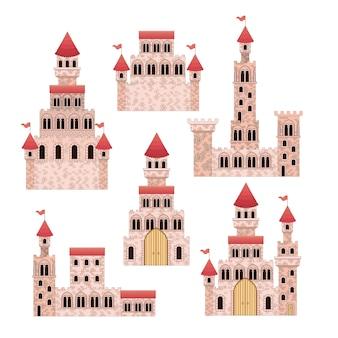 Ensemble de châteaux roses de contes de fées en fond blanc