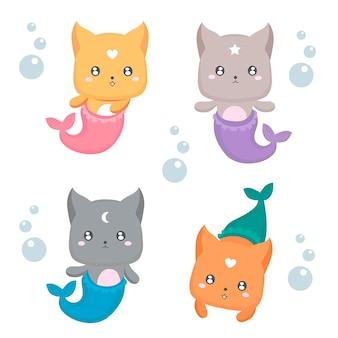 Ensemble de chatons sirène