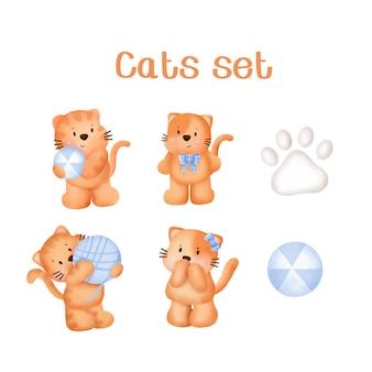 Ensemble de chats aquarelle dessinés à la main.
