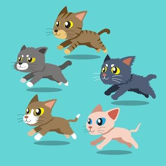 Ensemble de chats de bande dessinée en cours d'exécution