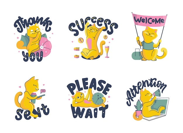 L'ensemble des chats. collection d'animaux de dessin animé avec des massages de lettrage.