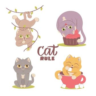 L'ensemble de chats doux est bon pour les vacances conçoit le chaton avec des feuilles de cupcake cacao