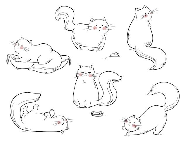 Ensemble de chats jouant autour de l'illustration de la ligne vectorielle