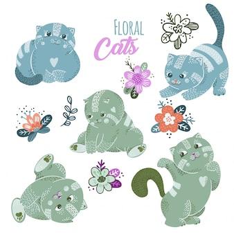 Ensemble de chats mignons de dessin animé avec des fleurs