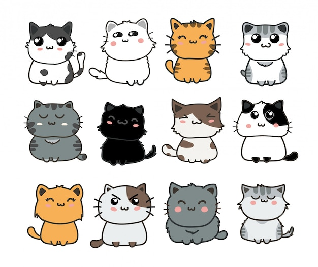 Ensemble de chats mignons