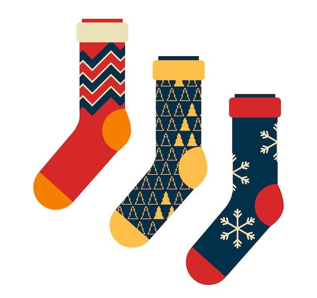 Un ensemble de chaussettes avec un ornement d'hiver un petit cadeau utile pour noël ou le nouvel an