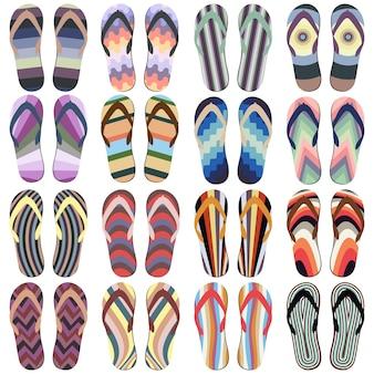 Ensemble de chaussons de plage. tongs d'été coloré isolé sur fond blanc