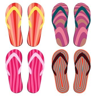 Ensemble de chaussons de plage. tongs d'été colorées sur fond blanc.