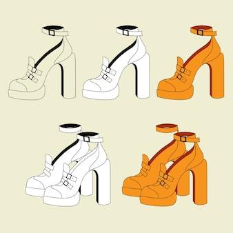 Ensemble de chaussures pour femmes orange à talons
