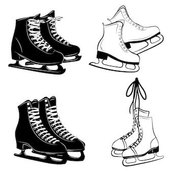 Ensemble de chaussures pour le patinage artistique. illustration de la collection de patins à glace. sport d'hiver.
