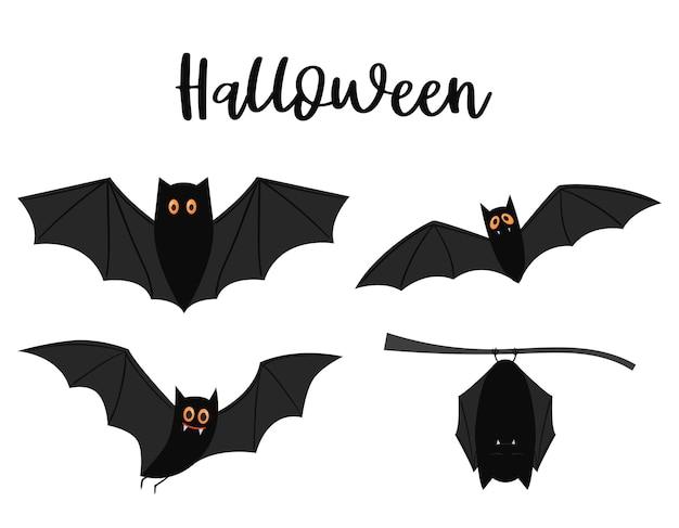 Un ensemble de chauves-souris volantes noires aux yeux jaunes. éléments décoratifs d'halloween sur fond blanc.