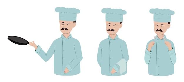 Ensemble d'un chef avec une moustache et une poêle à frire. plat.