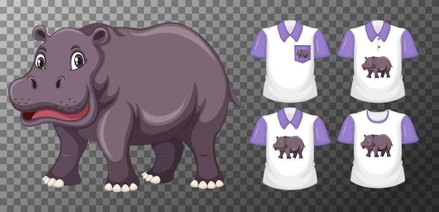 Ensemble de chemises différentes avec personnage de dessin animé d'hippopotame isolé sur fond transparent