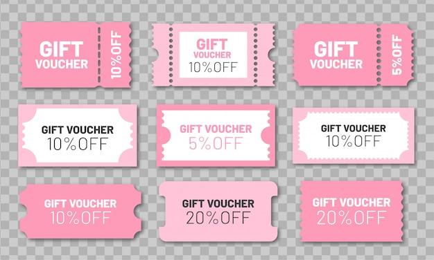 Ensemble de chèques-cadeaux. coupons de réduction roses 5, 10 et 20% de réduction.