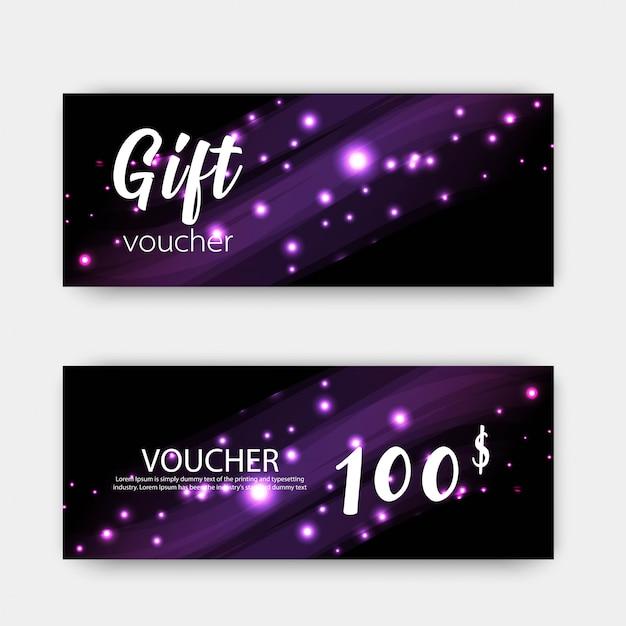 Ensemble de chèques cadeaux de luxe. design coloré