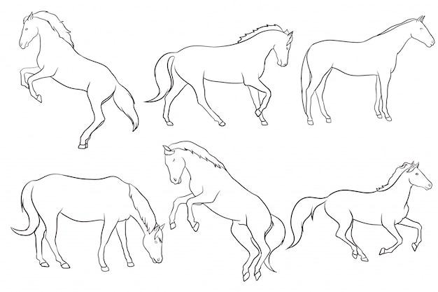 Ensemble de cheval dessiné à la main