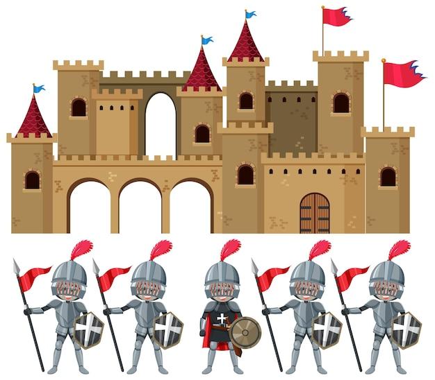 Ensemble de chevaliers et château médiéval