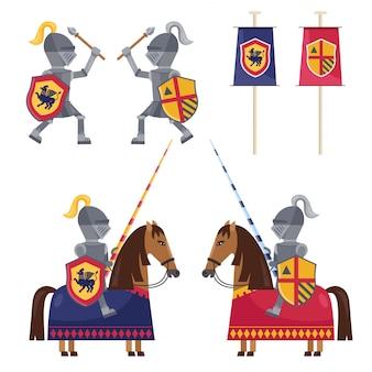 Ensemble de chevaliers médiévaux