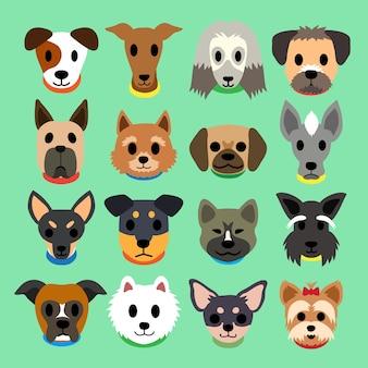Ensemble de chiens de dessin animé de vecteur