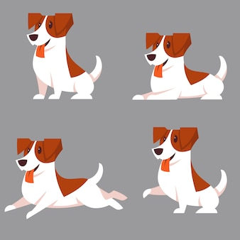 Ensemble de chiens jack russell terrier dans différentes poses. animaux mignons en style cartoon.