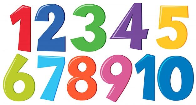 Ensemble de chiffres colorés