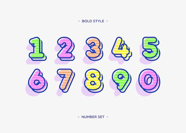 Ensemble de chiffres couleur typographie tendance style audacieux 3d