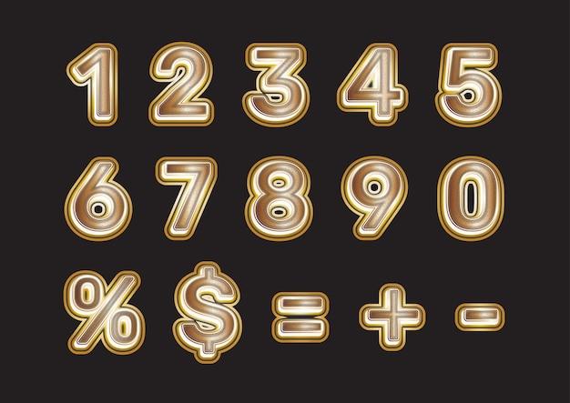 Ensemble de chiffres dorés de luxe doux