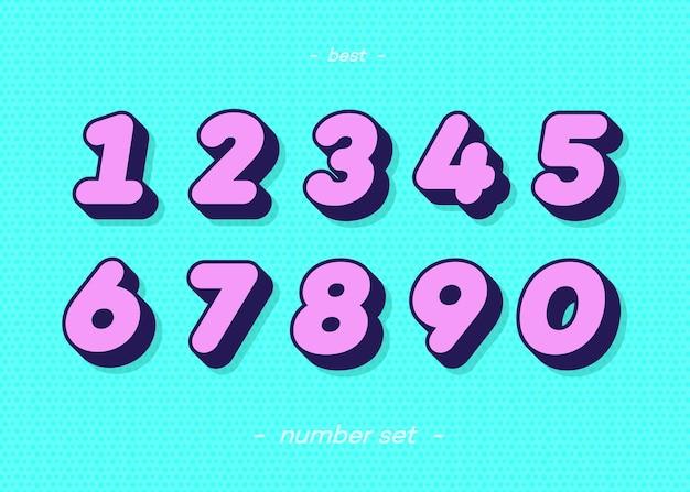Ensemble de chiffres style coloré typographie audacieuse 3d