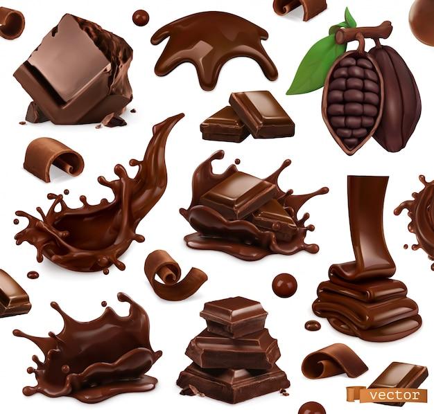 Ensemble de chocolat. éclaboussures, morceaux et copeaux de chocolat, fève de cacao. 3d réaliste. illustration de la nourriture