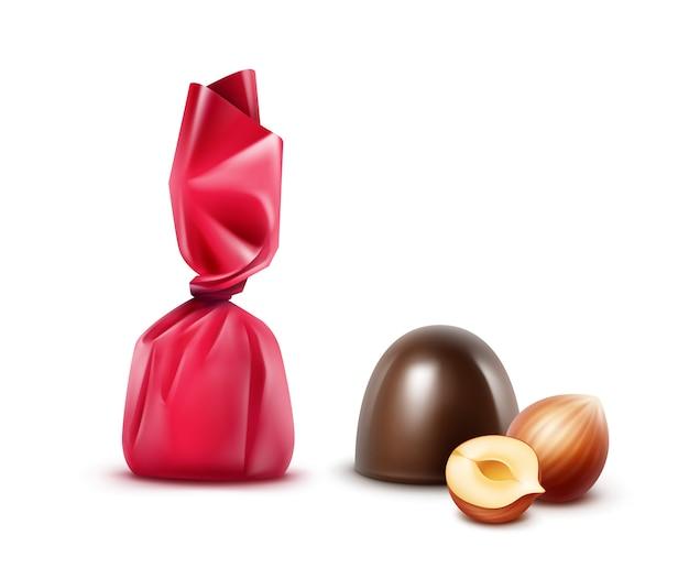 Ensemble de chocolat noir aux noisettes en feuille