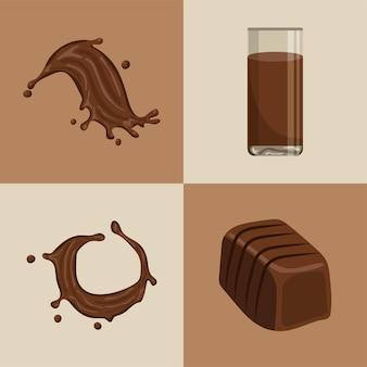 Ensemble de chocolat de nourriture et de boisson