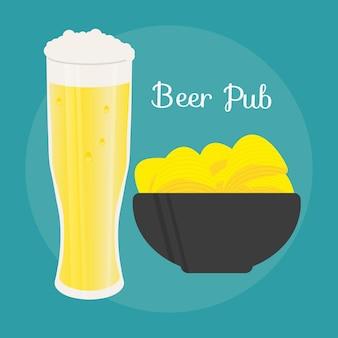 Ensemble de chope à bière et collation de style plat. bière légère avec des chips croustillantes. illustration vectorielle pour bannières, affiches, menu de restaurant et de pub.