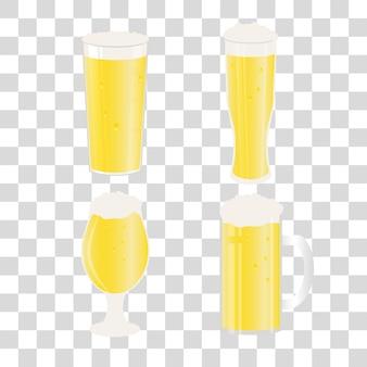 Ensemble de chopes à bière et verres sur fond transparent. icône de vecteur avec des boissons alcoolisées. bière de blé, lager, bière artisanale, ale.