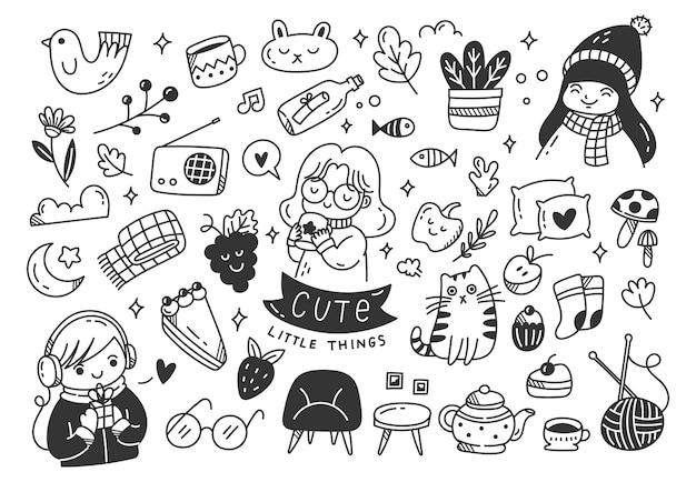 Ensemble de choses mignonnes doodles divers objets kawaii