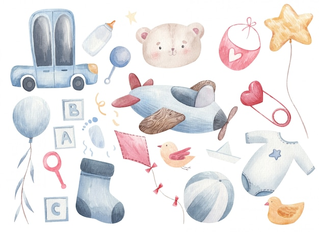 Ensemble de choses pour enfants pour bébé, voitures, chaussettes, balles, balles, vêtements, tétine, bouteille, bavoir à l'aquarelle