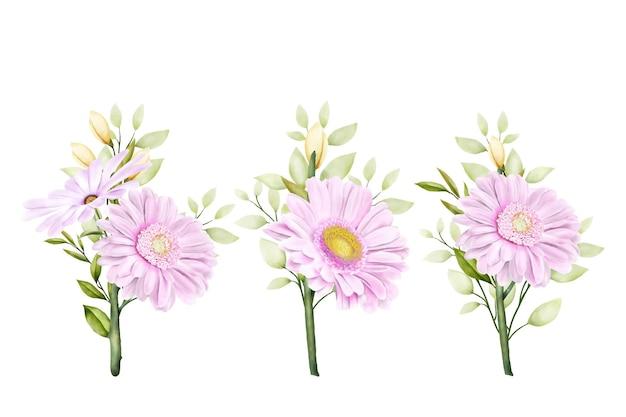 Ensemble de chrysanthèmes aquarelles