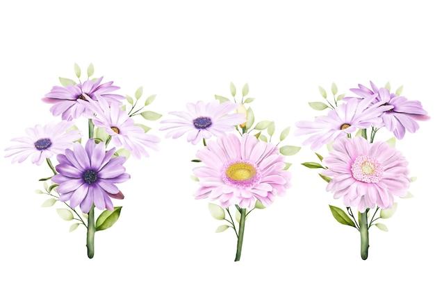 Ensemble De Chrysanthèmes Aquarelles Vecteur gratuit