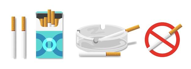 Ensemble de cigarettes : dans un paquet de cigarettes, dans un cendrier. panneau