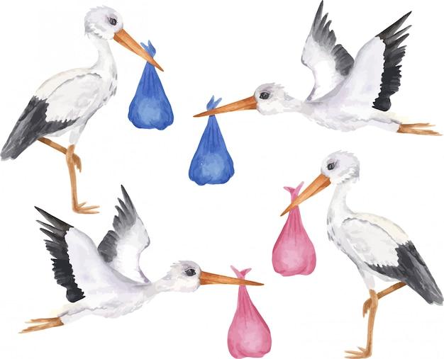 Ensemble de cigognes blanches avec bébé fille et garçon. objet isolé sur fond blanc, illustration aquarelle dessinée à la main, personnage de dessin animé