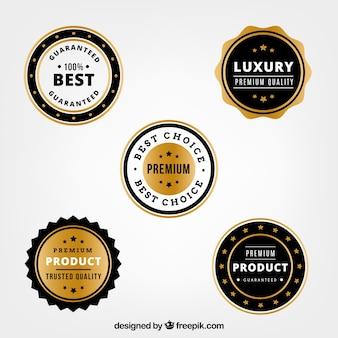 Ensemble de cinq autocollants produits de luxe