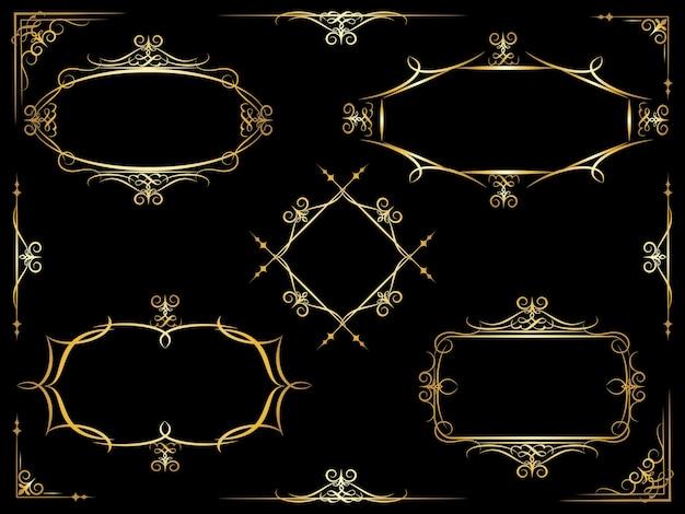 Ensemble de cinq cadres ornés décoratifs vectoriels blancs différents avec des éléments d'en-tête et de pied de page d'angle à utiliser sur des documents et des manuscrits