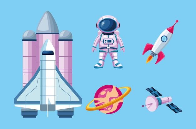 Ensemble de cinq éléments spatiaux mis en illustration
