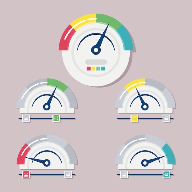 Ensemble de cinq jauges de satisfaction client mesurent l'illustration