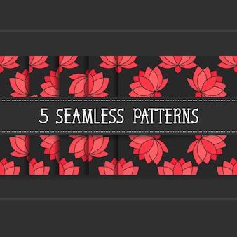 Ensemble de cinq modèles sans couture pour vos produits et votre entreprise. illustration vectorielle de lotus