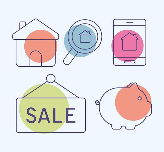 Ensemble de cinq objets immobiliers