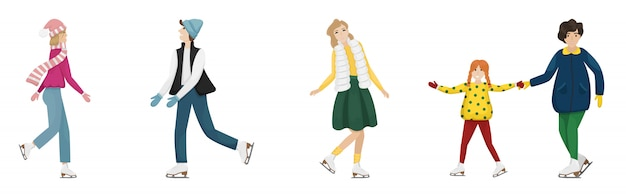 Ensemble de cinq personnes patinant sur des patins artistiques. animations hivernales. illustration plate.