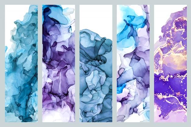 Ensemble de cinq signets décorés avec une texture d'encre